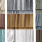 Collage showing various popular exterior home colors of vinyl shake siding.