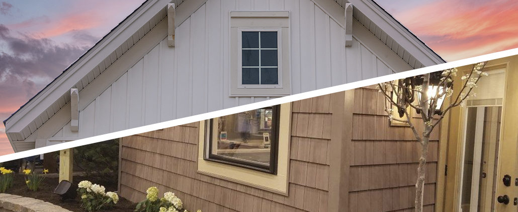 comparison photo showing vertical and horizontal siding options.